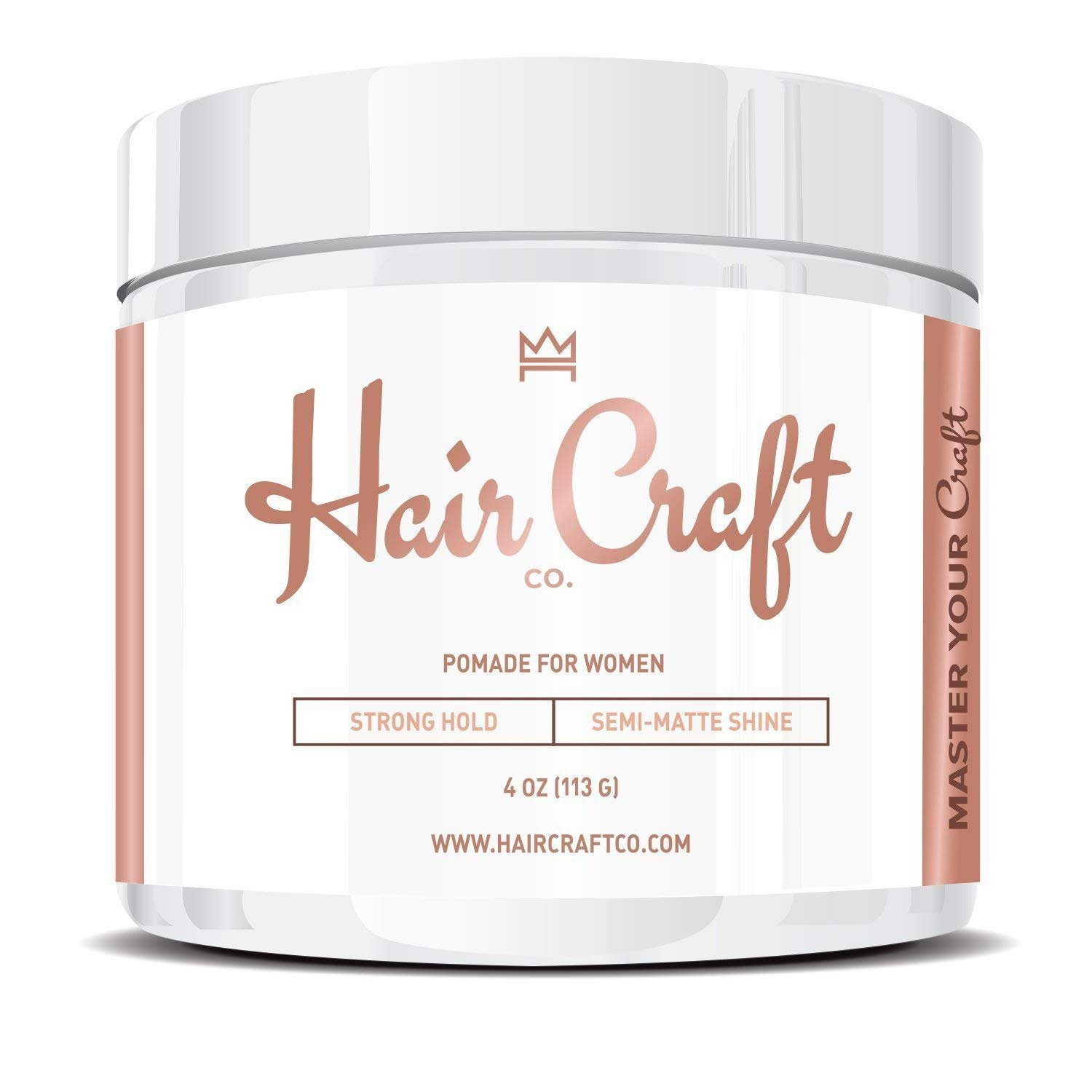 Hair Craft Co. Women's Pomade/Gel 4oz - Best Semi-Matte Finish Shine - Strong Hold – Styling Product, Salon Approved - Water Based/Soluble - Defining Texture & Scented - Straight/Thick/Wavy Hair