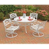 Home Styles 5552-325 Biscayne 5-Piece Outdoor Dining Set with Round Table and Swivel Chair, White Finish, 48-Inch