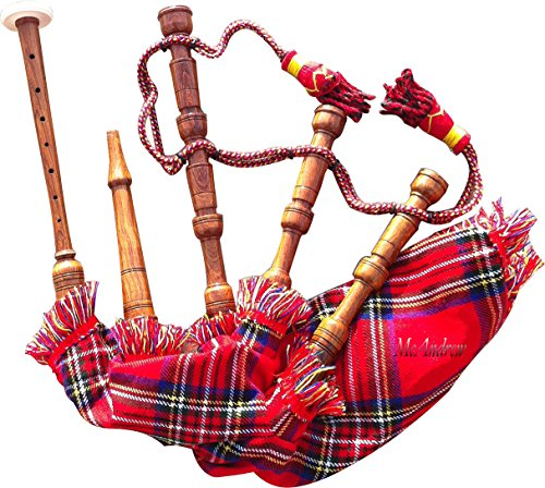 AJW New Baby Mini Bagpipe Toy Playable Beginner Kids Rose wood Royal Stewart Cover & Cord Free 2 Reed from AJW
