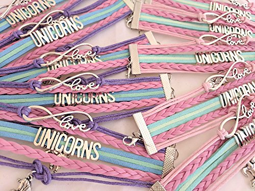 BAE Icons Unicorn Party Favors, Infinity Unicorns Charm Bracelet 10 Pack for Unicorn Party Supplies, Unicorn Birthday Party Supplies, Unicorn Gifts for Girls, Unicorn Prizes for -