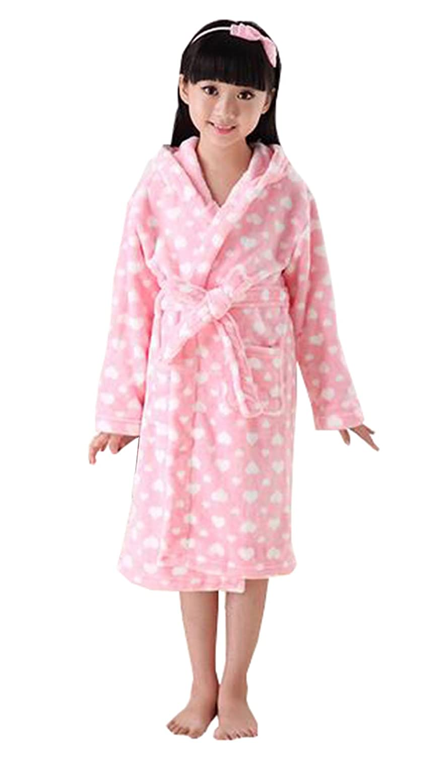 KM Girls' Dots Thicken Hooded Flannel Bathrobe