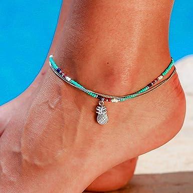 Pulsera de plata y oro Boho De Tobillo Tobillera Pie Cadena Perlas de playa para mujer Jewlry