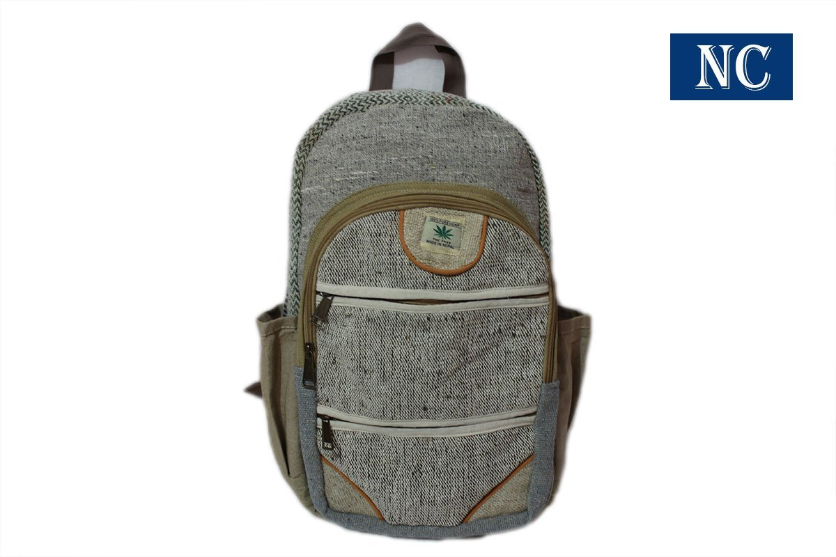 Pure Hemp Natural Light Greay Color Backpack Handmade Nepal with Laptop Sleeve - Fashion Cute Travel School College Shoulder Bag / Bookbags / Daypack