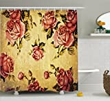 Roses Decorations Shower Curtain by Ambesonne, Old-Fashioned Victorian Style Rose Pattern with Dramatic Color Boho Art Design, Fabric Bathroom Set with Hooks, 69W X 70L Inches, Mustard and Ligth Pink