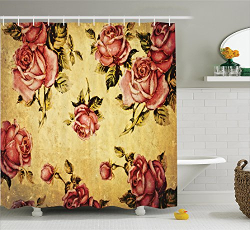 Roses Decorations Shower Curtain by Ambesonne, Old-Fashioned Victorian Style Rose Pattern with Dramatic Color Boho Art Design, Fabric Bathroom Set with Hooks, 75 Inches Long, Mustard and Ligth Pink