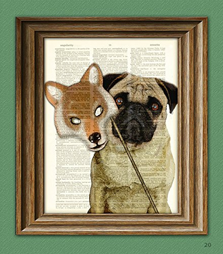 (Dog Art Print Halloween Pug with Wolf Mask Costume 'Dottie's Inner Wolf' Dictionary Page art)