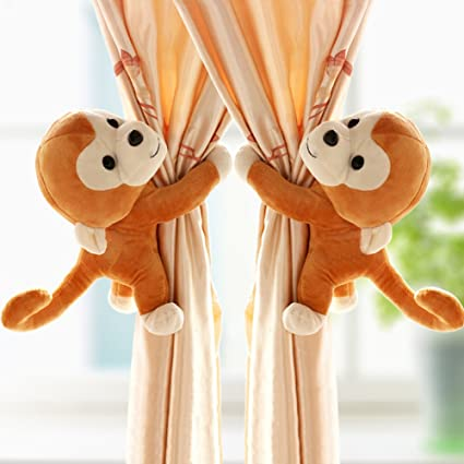 a464ed13472 Image Unavailable. Image not available for. Color  One Pair Cute cartoon  monkey Curtain buckle curtains ...