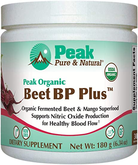 Peak Pure Natural Beet BP Plus – Organic Fermented Beet Powder Superfood Drink Powder – Nitric Oxide Support for Healthy Blood Pressure