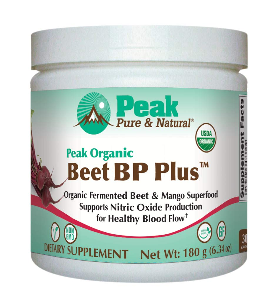 Peak Pure & Natural Beet BP Plus - Organic Fermented Beet Powder Superfood Drink Powder - Nitric Oxide Support for Healthy Blood Pressure