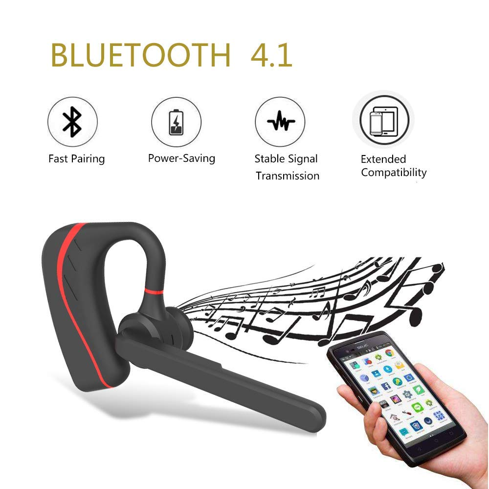 Bluetooth Headset HandsFree Wireless Earpiece V4.1 with Mic for Business,Office,Driving,Music,iPhone//Android