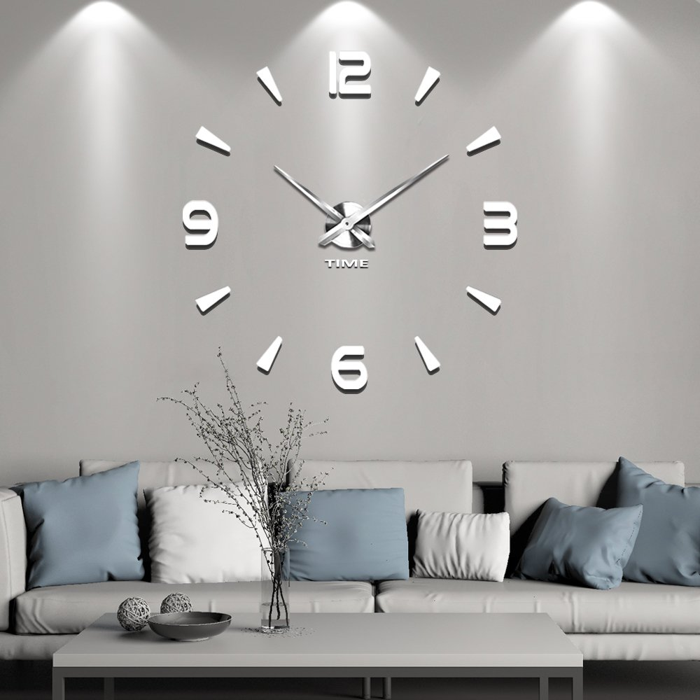 Modern DIY Wall Clock Vangold Silent Clock 3D Frameless Wall Clock Decoration for Home Decorations (Black) Black-3