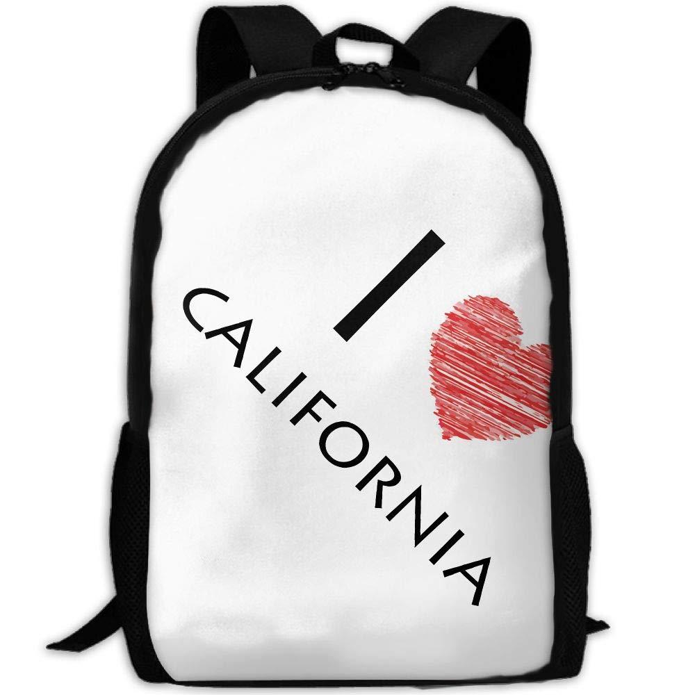 ZQBAAD I Love California Luxury Print Men and Women's Travel Knapsack