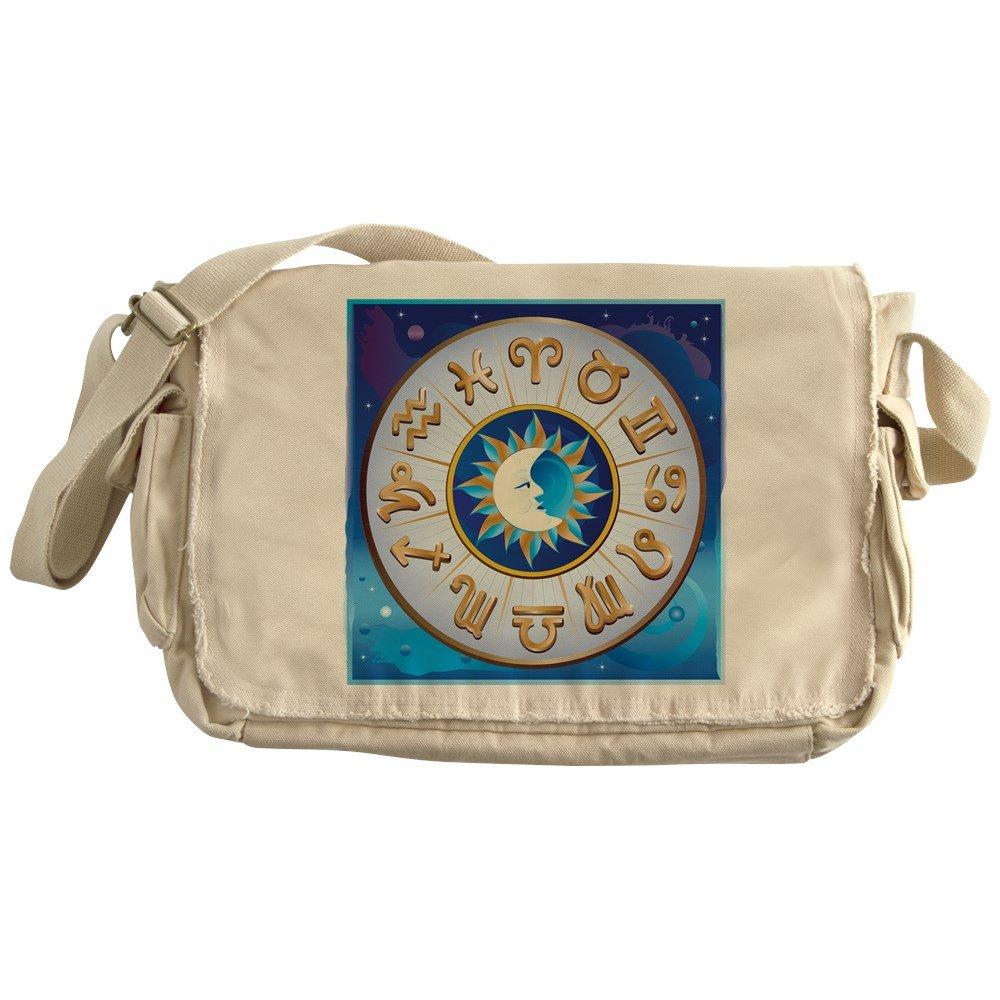 Royal Lion Khaki Messenger Bag Zodiac Astrology Wheel