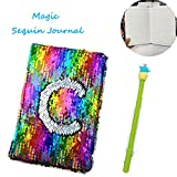 Sequin Notebook – 2 Color Mermaid Reversible Sequin Journal – Magic Travel Journal Notebook Gift for Adults and Kids (Rainbow)