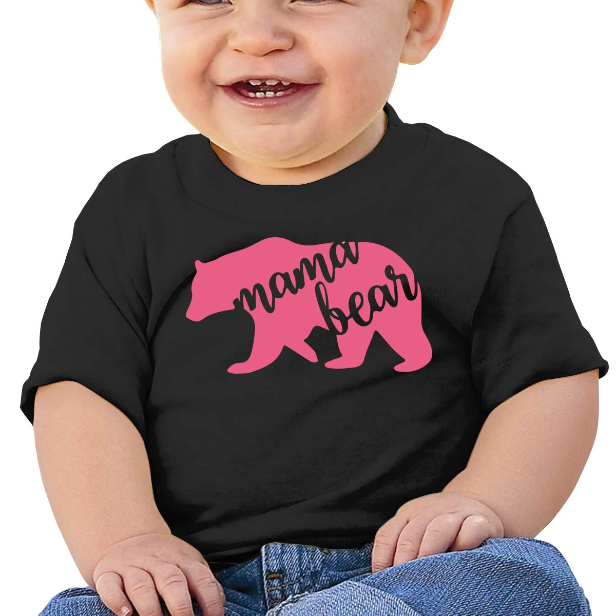 Pink Mama Bear Baby T-Shirt Toddler Cotton T Shirts Comfort Tee Shirts for 6M-2T Baby