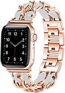W17 Metal Chain Link Apple Watch Bands with Leather for Women compatible with 38mm 40mm 42mm 44mm, Dressy Stylish Jewelry Bracelet, Chic iWatch Bands for Series 6, SE, Series 5, 4, 3, 2,1 (Rose gold and White, 38mm/40mm)