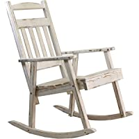 PEGANE Rocking-Chair Bois Key West Blanc Vieilli - H 108 x L 68,5 x P 86cm