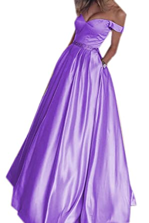 Lwdress Off The Shoulder Satin Prom Homecoming Dresses For Juniors
