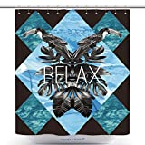 Unique Shower Curtains Relax Slogan Summer Illustrator Art Vector Watercolor Toucan Graphic Leaves And Blue Sea Mirror 283510835 Polyester Bathroom Shower Curtain Set With Hooks