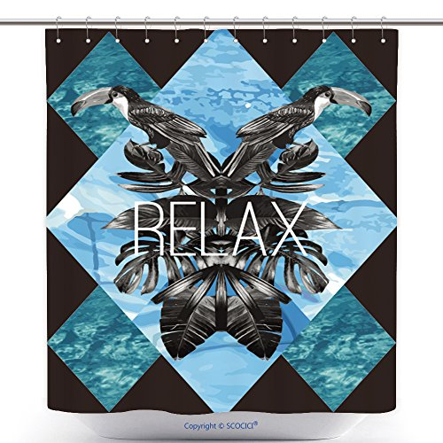 Polyester Shower Curtains Relax Slogan Summer Illustrator Art Vector Watercolor Toucan Graphic Leaves And Blue Sea Mirror 283510835 Polyester Bathroom Shower Curtain Set With Hooks by chaolemon88