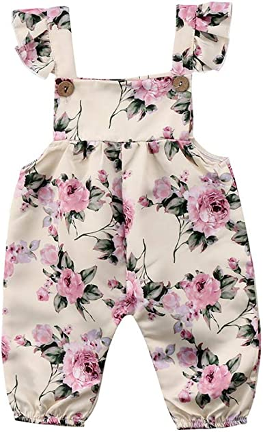 Newborn Girls Floral Romper Bodygrows Jumpsuit Baby Long Sleeve Outfits Playsuit