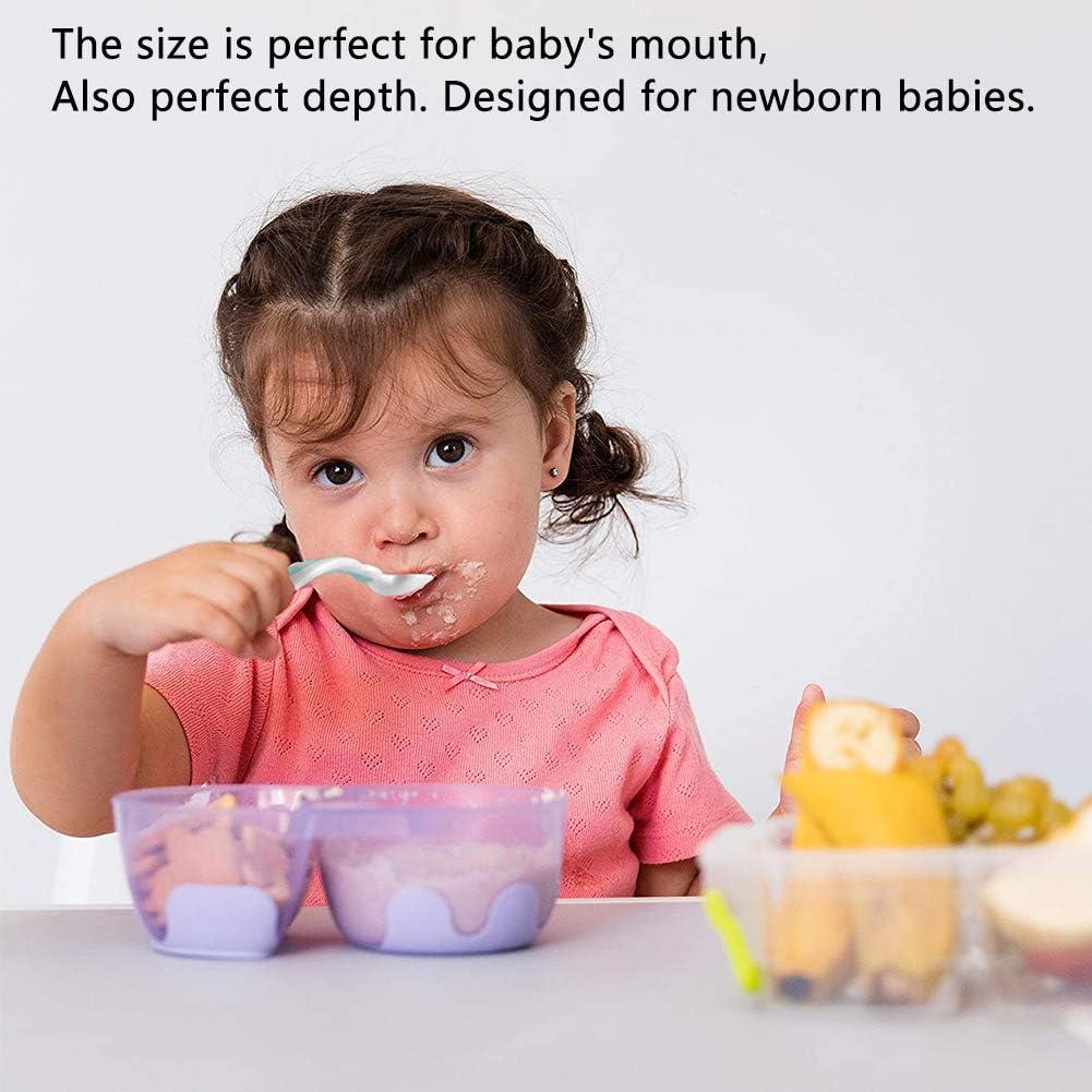 WENTS 6PCS avec voyage Safe Case Toddler B/éb/és Enfants Alimentation Cuill/ère Dentra/înement Easy Grip Pliable Parfait Auto-Alimentation Cuill/ères Dapprentissage Ustensiles De B/éb/é Cuill/ère Fourche