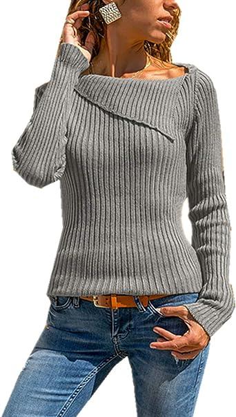 Cyiozlir Elegante camiseta de manga larga para mujer, de punto, monocolor, de manga larga, jersey fino