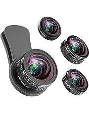 Phone obiettivo della fotocamera, obiettivo fisheye 235 ° + 15 x lente macro, grandangolo 0.4 x + 12 x obiettivo macro, smartphone kit obiettivo compatibile per iPhone 8 7 x, 6 6S Plus, Samsung