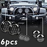 (Pack of 6) Partsam Smoke Front Replacement Turn Signal & 75W 7 Inch LED Round Headlight Projector Assembly DRL High/Low Beam & 4inch Fog Light for Jeep Wrangler JK TJ LJ Sahara Rubicon Unlimited