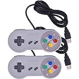 Iseebiz Nintendo 任天堂snesゲーム対応 ゲームパッド ゲームハンドル USB接続 アナログコントローラー 高耐久ボタン レトロクラシック ホワイト 2個セット