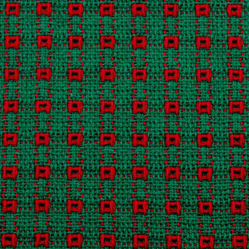 - 70 Inch Round Homespun Tablecloth, Hand Loomed, 100% Cotton, Green/Red