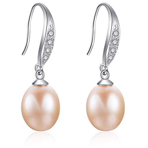 ead9a3ebd Cultured Freshwater Pink Pearl Dangle Earrings with Cubic Zirconia Wedding  Jewelry for Women by Aobei