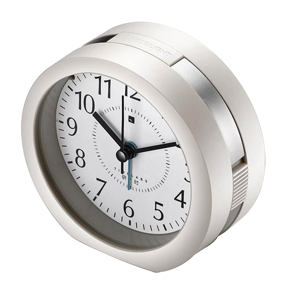 Kanical Round Silent Analog Alarm Clock Non-Ticking Quartz Bedside Desk Clock with Night Light for Bedrooms Travel - Music to Wake You (Silver)