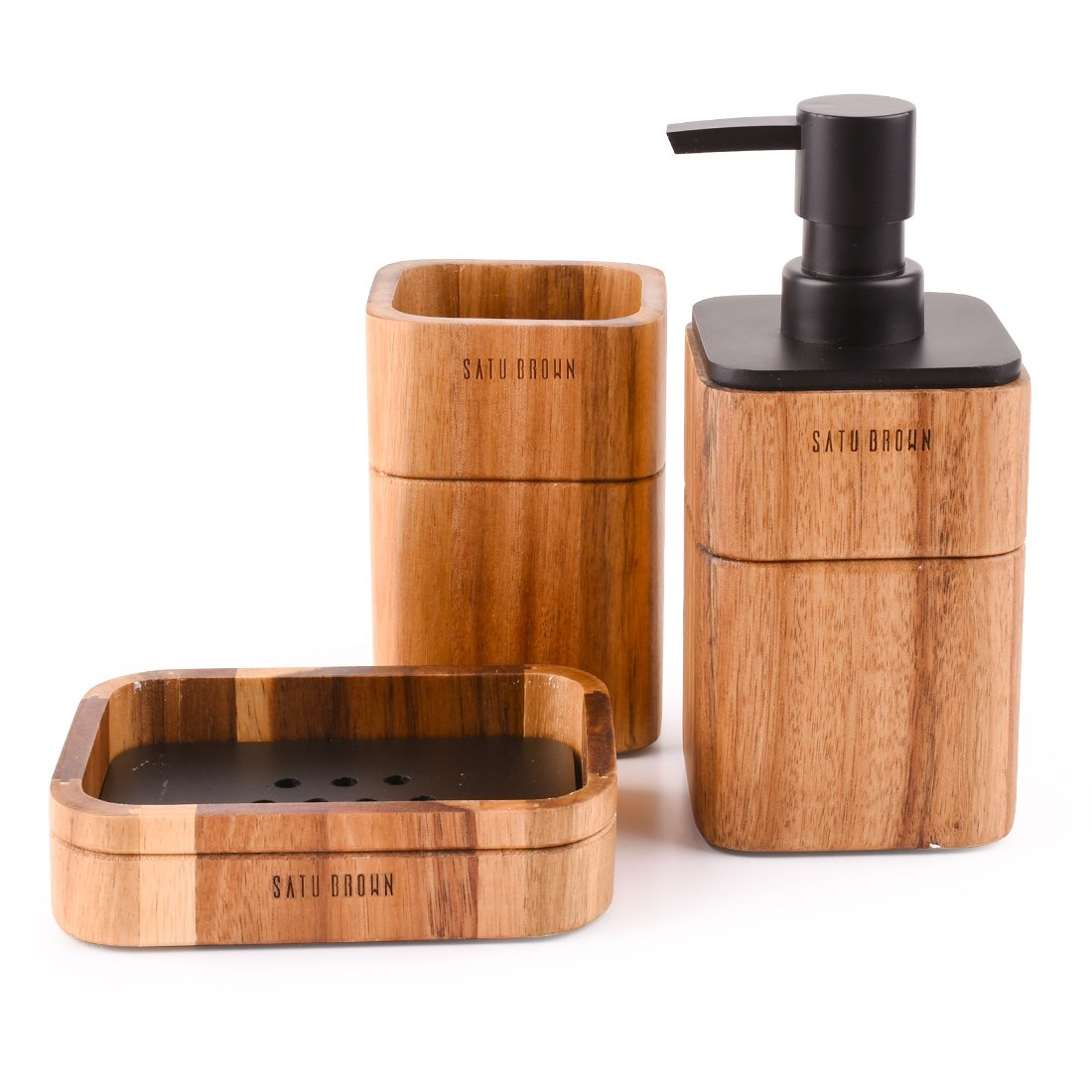Satu Brown Bathroom Accessory Set Acacia Wood 3 Pieces Includes Bathroom Soap Dispenser, Bathroom Tumbler, Soap Dish Accessories for Bathroom Decor and House Warming Gift