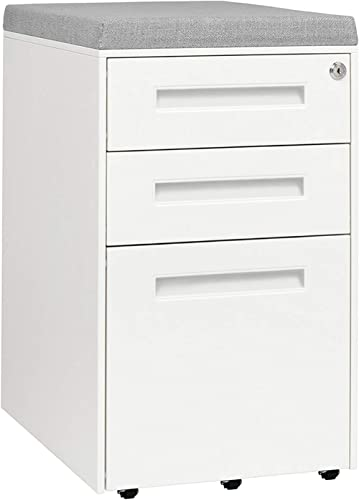 STOCKPILE Seated 3-Drawer Mobile File Cabinet with Removable Magnetic Cushion Seat, Commercial-Grade, Pre-Assembled White with Grey Cushion