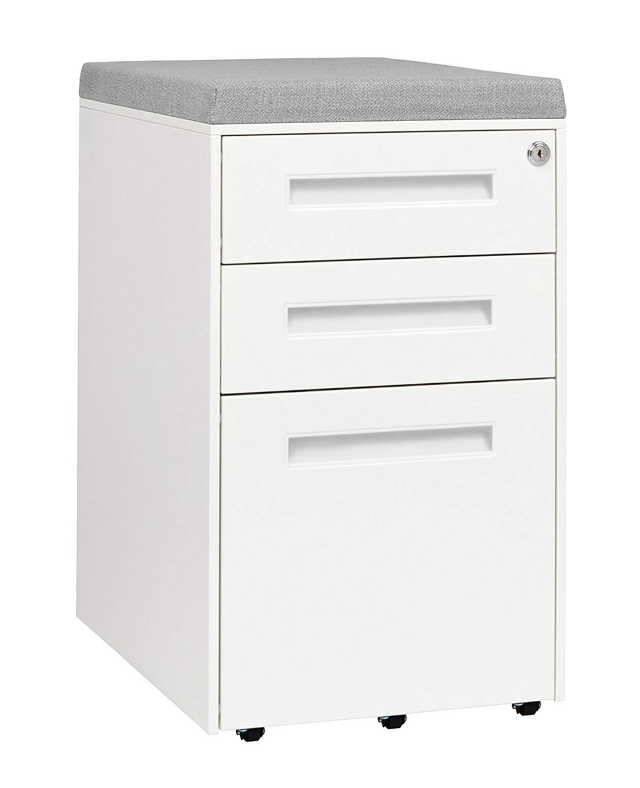 STOCKPILE Seated 3-Drawer Mobile File Cabinet with Removable Magnetic Cushion Seat, Commercial-Grade, Pre-Assembled (White with Grey Cushion) by Laura Davidson Furniture