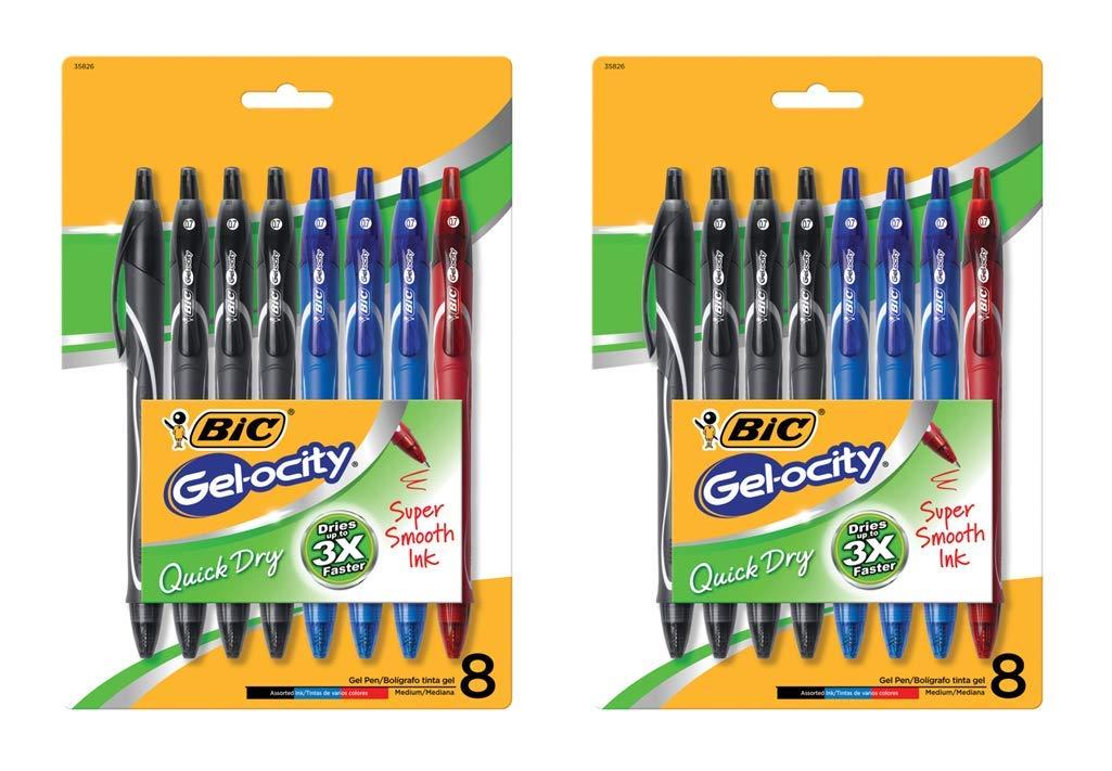 BIC Gel-ocity Quick Dry Retractable Gel Pen, Medium Point, 0.7 mm, Assorted Colors, 16-Count