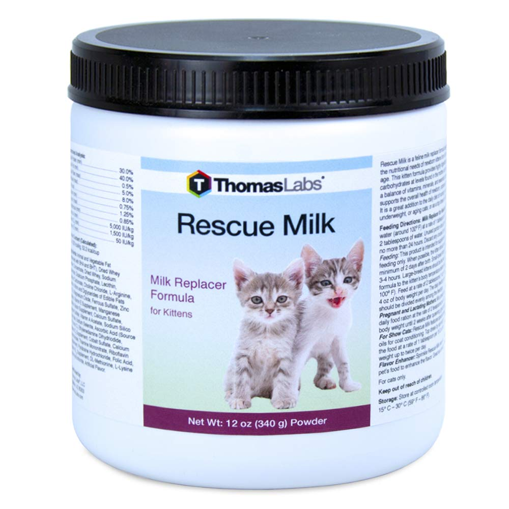 Thomas Labs Rescue Milk for Kittens & Cats - Kitten Milk Replacer - (Powder, 12 oz) by Thomas Labs