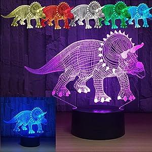 Dinosaur 3D Lamp Triceratops Optical Illusion Desk Night Light Color Changing Dino Themed Nursery Room Decor Lights