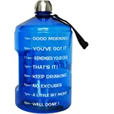 BuildLife 1 Gallon Water Bottle Motivational Fitness Workout with Time Marker to Drink More Daily/Clear BPA-Free Reusable Lar