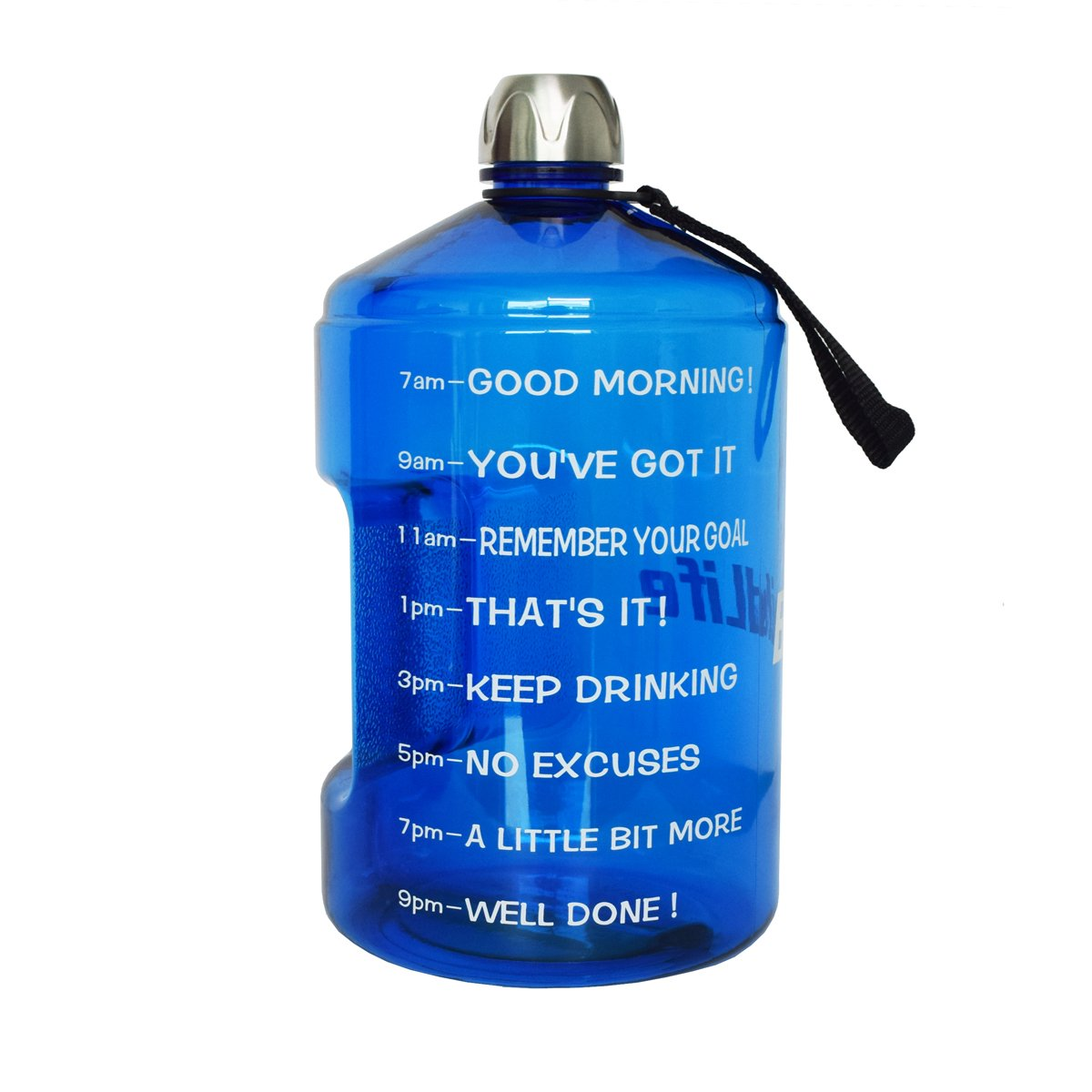 BuildLife 1 Gallon Water Bottle Motivational Fitness Workout with Time Marker  Drink More Water Daily   Clear BPA-Free   Large 128 Ounce/43OZ of Water Throughout The Day (1 Gallon-Blue, 1 Gallon)