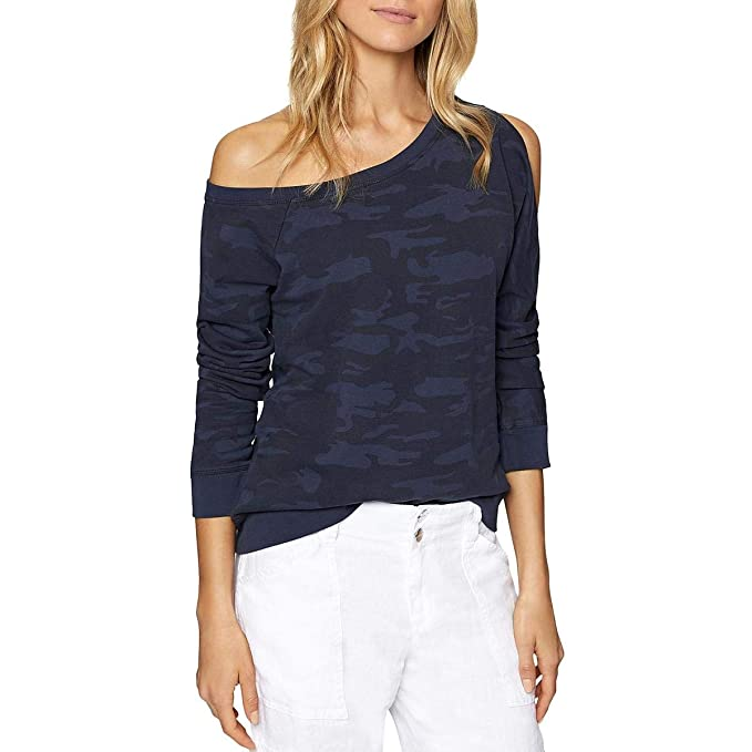 c1439d5b35fd18 Sanctuary Women s Alexi Asymmetrical Sweatshirt Heritage Navy Camo Large at  Amazon Women s Clothing store