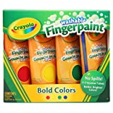 Crayola 4ct Washable Fingerpaints Primary (Bold, primary colors in red, blue, yellow, and green) image
