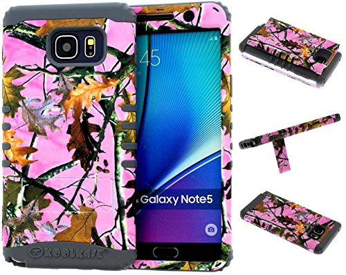 Galaxy Note 5 Case, Hybrid Kickstand Shockproof Impact Resistant Cover Pink Camo Mossy Leaf Branch Over Gray Silicone Skin for Galaxy Note 5 Cover