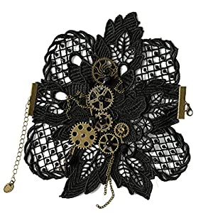 KOGOGO Steampunk Lace Bracelet Lolita Wrist Cuff with Gears