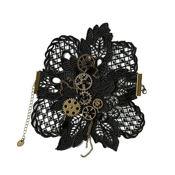 KOGOGO Steampunk Lace Bracelet Lolita Wrist Cuff with Gears 3