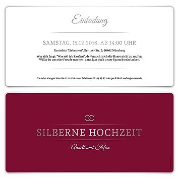 20 X Silberne Hochzeit Einladungskarten Silberhochzeit Einladungen 25 Jahre    Burgunder Silber