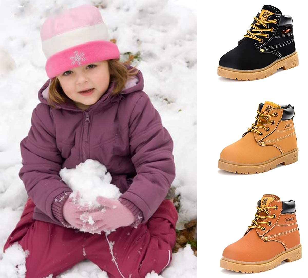 Hiking Outdoor Martin Boots BENHERO Kids Boys Girls Boots Rain Winter Snow Ankle Booties Toddler//Little Kid Classic and Waterproof