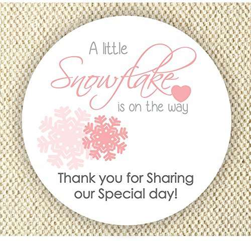 Baby Girl Shower Stickers - A Little Snowflake is on the way Stickers - Thank you for Celebrating with me Labels]()