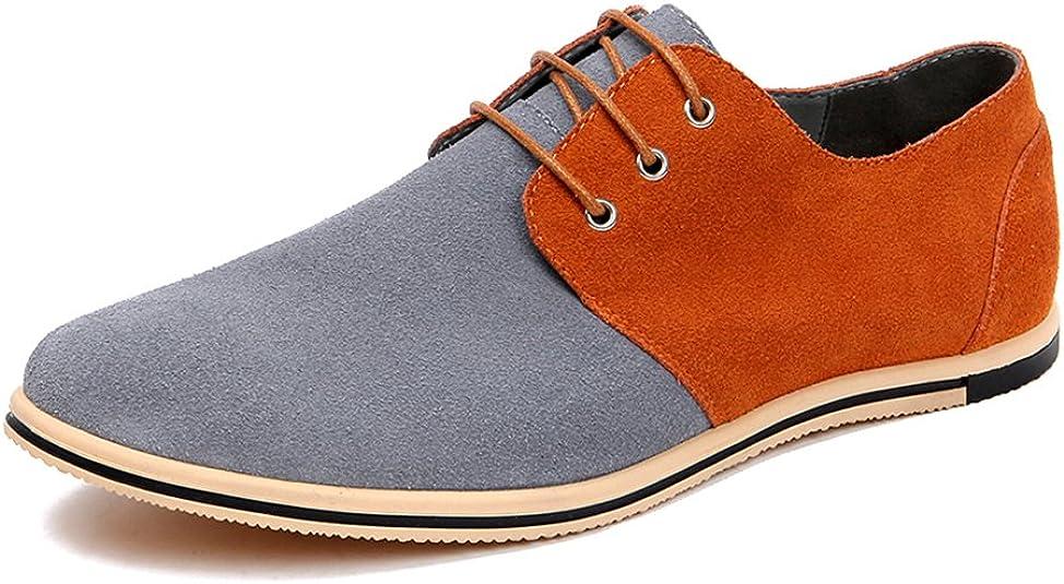 TALLA 50 EU. AARDIMI - Zapatos de hombre con cordones, estilo informal, para casa, con cordones, piel de ante y costuras Oxfords, color negro